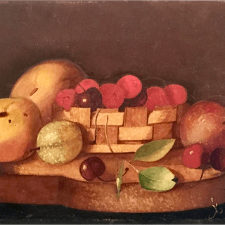 [unattributed] American school : Tabletop still-life, ca.1840-50.