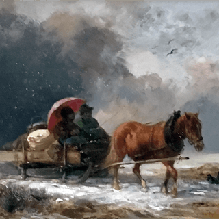 American school signed painting : The long ride, ca.1880
