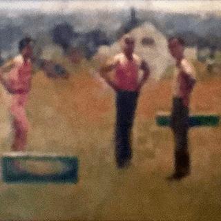 [unattributed] American School Regionalism Genre Painting: Odd family