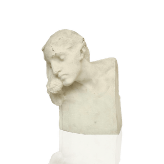 [unattributed] Art Nouveau signed marble sculpture : Female bust, 1880.