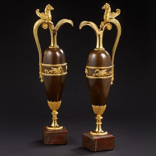 A pair of ormolu and bronze vases