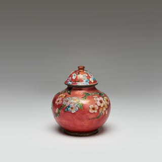 """Rare enameled copper vase with a cover and """"Geisha"""" decor"""