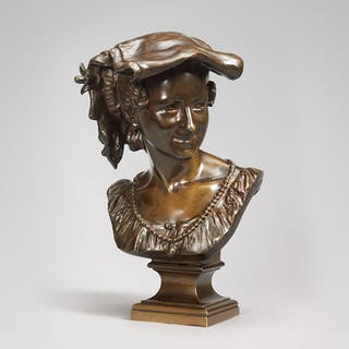 Bronze bust of a laughing Neapolitan