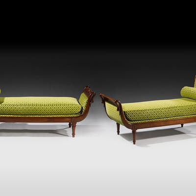 A rare pair of Directoire Chauffeusen mahogany in green cover
