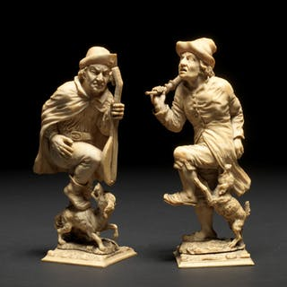 A German carved ivory of two musicians