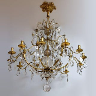 Important Crystal Glass Chandelier