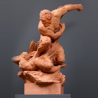 Important sculpture Satyr and Nymphe
