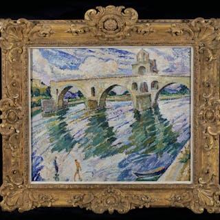 The bridge of Avignon with bathers and fishermen