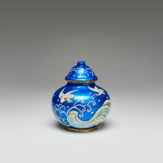 Enamel on copper, vase with a cover