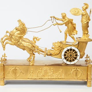 An Empire ormolu figural mantel clock, 'The Chariot of Telemachus'