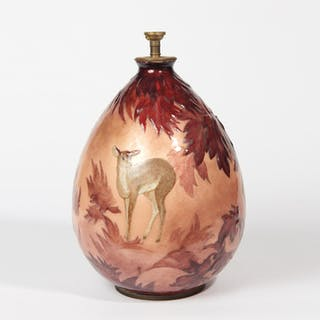 Enamelled vase on copper with a decor of autumn leaves and fawn