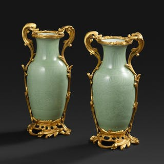 A pair of celadon vases with a bronze mount