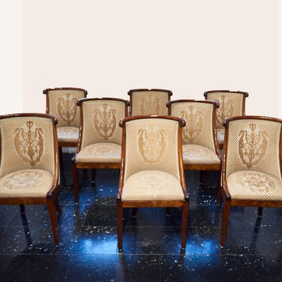 Rare seating group of 8 chairs