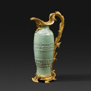 A Louis XV ormolu-mounted Chinese celadon porcelain ewer