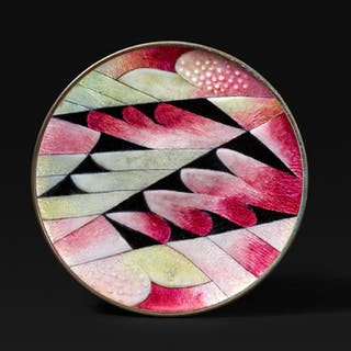 Enameled copper dish with a pink and yellow feather design