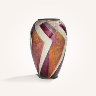 Large ovoid vase with ring neck