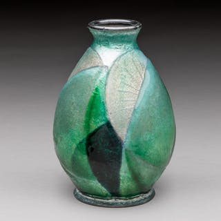 Enameled copper vase with green-white geometric decoration