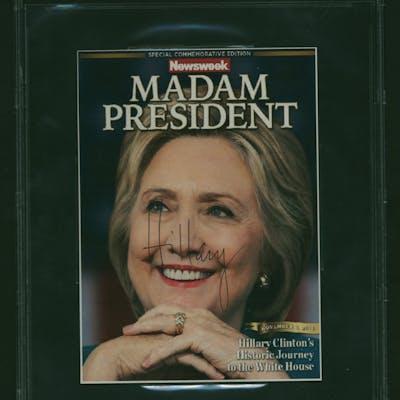 "Hillary Clinton Signed Mis-Print ""Madam President"" Mock 6"" x 8"" Newsweek"