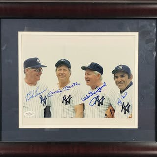 "Yankees Old-Timers Multi-Signed 8"" x 10"" Photograph w/ Mantle. Berra"