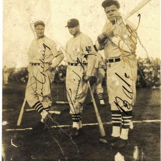 """Babe Ruth, Lou Gehrig & Jimmie Foxx Signed 4"""" x 5"""" Tour of Japan Photograph"""