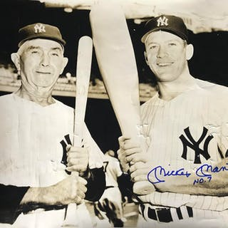 "Mickey Mantle Signed Over-Sized Original 14"" x 17"" Photograph w/ Frank"