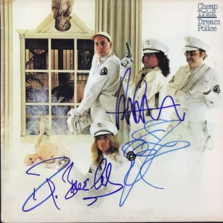 "Cheap Trick ""Dream Police"" Group Signed Record Album Cover (4 Sigs)(Beckett/BAS"