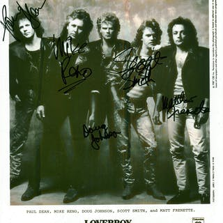 """Loverboy Rare Group Signed 8"""" x 10"""" Photograph w/ All Five Members!"""