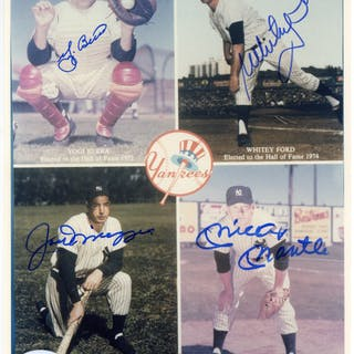 """Yankees Hall of Famers Multi-Signed 8"""" x 10"""" Photograph w/ Berra"""