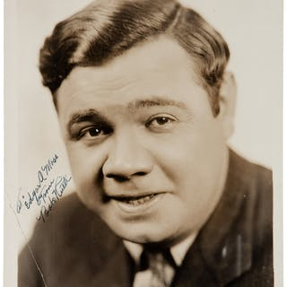 """Babe Ruth Signed 8"""" x 10"""" Photograph - A Rare Image of Ruth Smiling! (PSA/DNA)"""