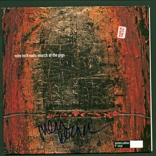 """NIN: Trent Reznor Near-Mint Signed """"March of the Pigs"""" LE 9"""" Vinyl"""