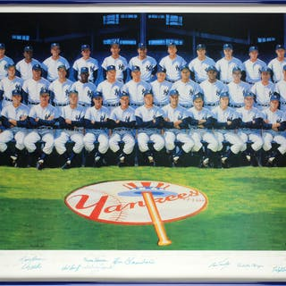 1961 New York Yankees Commemorative Lithograph w/ 33 Sigs Incl. Mantle