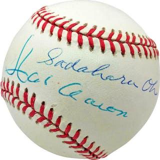 Home Run Kings: Hank Aaron & Sadaharu Oh Dual Signed ONL Baseball (PSA/DNA)