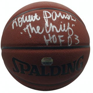 Lot of Two (2) Signed & Inscribed NBA I/O Basketballs w/ Robert Parish