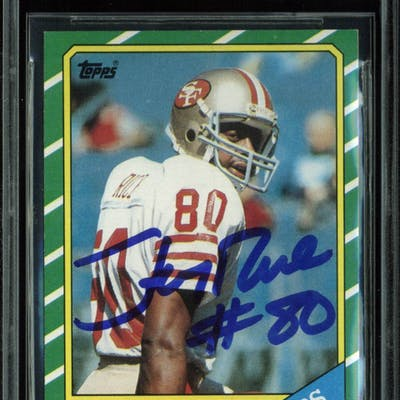 Jerry Rice Signed 1986 Topps 161 Rookie Card Beckettbas Graded