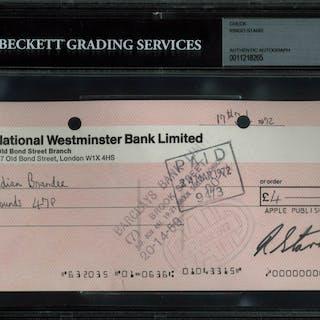 The Beatles: Ringo Starr Signed Apple Management 1973 Bank Check (Beckett/BAS