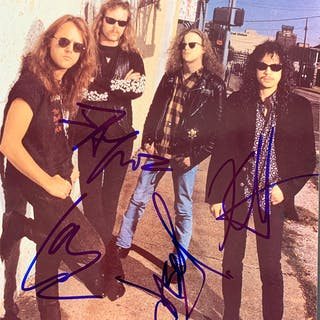 "Metallica Group Signed 8"" x 10"" Color Photograph (Epperson/REAL)"