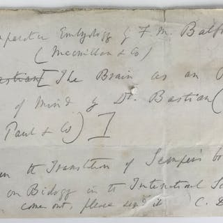 "Charles Darwin Signed & Handwritten 7"" x 5"" Note Requesting Books"