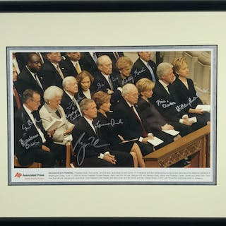 "Presidents & First Ladies Signed 11"" x 14"" AP Photograph w/ Both Bushes"