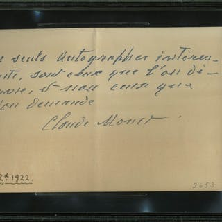 ULTRA-RARE Claude Monet Handwritten & Signed Note in French w/ Quote