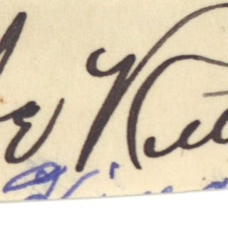"""Babe Ruth Near-Mint Steel-Tip Signed 1"""" x 3"""" Album Page (Beckett/BAS)"""