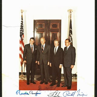 "Four Presidents Phenomenal Signed 8"" x 10"" Color Photo w/ Reagan"