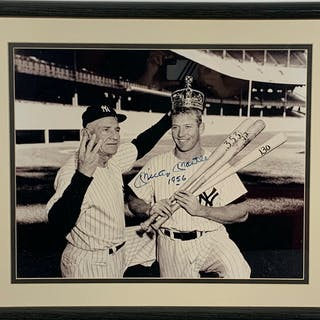"Mickey Mantle Signed Triple Crown 16"" x 20"" Photograph w/ Rare ""1956"""