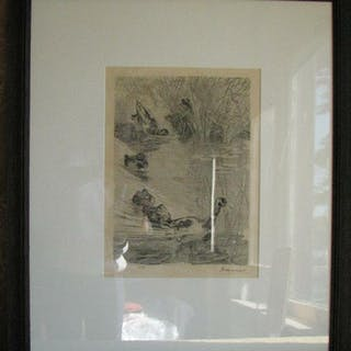 Felix Bracquemond 1833-1914 French. Ink signed etching. Ducks in Pond