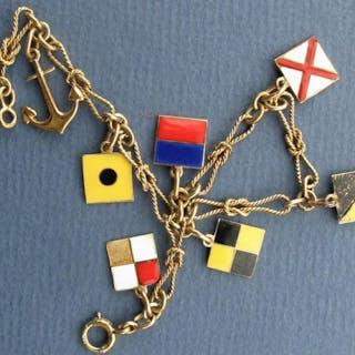 Vintage 1949 enameled 14k yellow gold Souvenir nautical flag bracelet