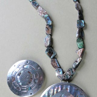 Vintage Mexican Abalone sterling silver Jewelry lot FR3SHC1
