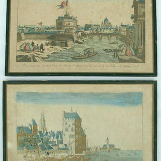 Two late 18thc watercoloured Italian engravings. Vue du Chateau St.