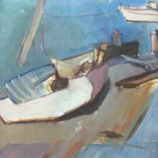 Cubist oil/c. Boats at dock. Wanda Stella Varriale 1923 – 1997 NY/NJ FR3SHC1