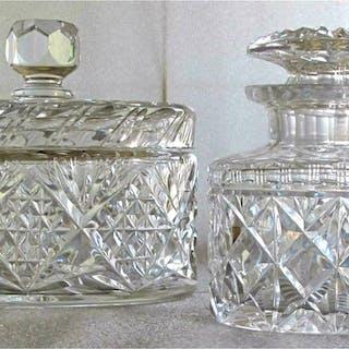 Two cut crystal oval lidded Jars c1930 FR3SH