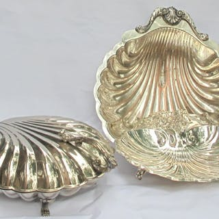 Three large size Scallop shell shaped footed silver plate serving