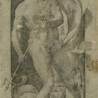 NEPTUNE 1526 engraving on watermarked paper Giovanni J Caraglio after